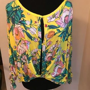 Free People Yellow Floral Long-sleeve Top - Size M